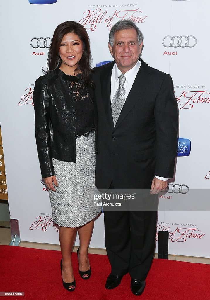 TV News Anchor Julie Chen (L) and CBS President Leslie Moonves (R) attend the Academy Of Television Arts & Sciences 22nd annual Hall Of Fame induction gala at The Beverly Hilton Hotel on March 11, 2013 in Beverly Hills, California.