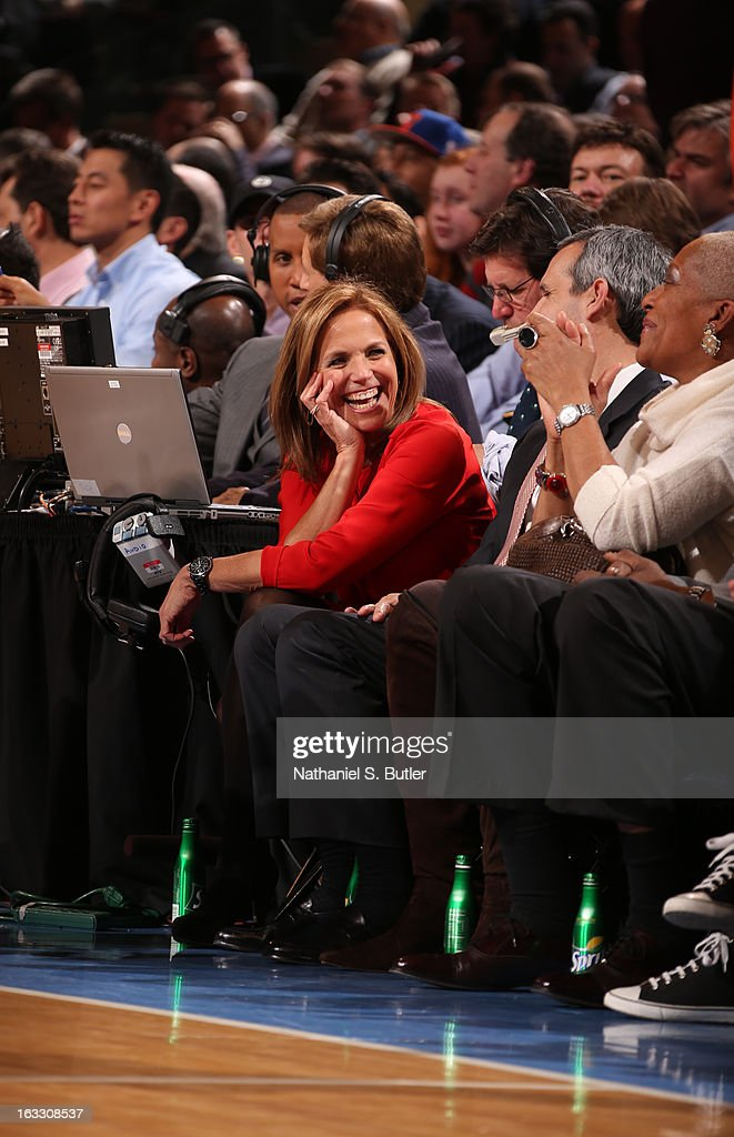 CBS News Anchor Katie Couric watches the New York Knicks play the Oklahoma City Thunder on March 7, 2013 at Madison Square Garden in New York City.