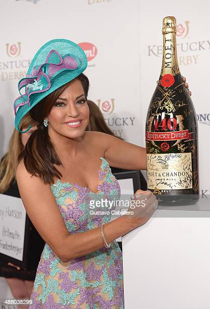 News Anchor Robin Meade toasts with Moet Chandon at the 140th Kentucky Derby at Churchill Downs on May 3 2014 in Louisville Kentucky