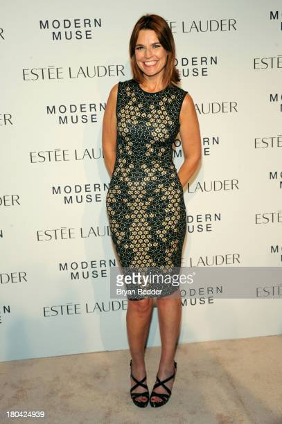 News Anchor Savannah Guthrie attends the Estee Lauder 'Modern Muse' Fragrance Launch Party at the Guggenheim Museum on September 12 2013 in New York...