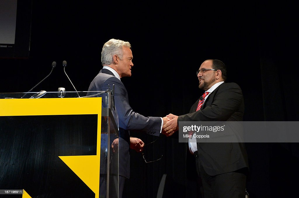 News anchor <a gi-track='captionPersonalityLinkClicked' href=/galleries/search?phrase=Scott+Pelley&family=editorial&specificpeople=5402652 ng-click='$event.stopPropagation()'>Scott Pelley</a> and Dr. Seri Bakkar speak onstage at the Annual Freedom Award Benefit hosted by the International Rescue Committee at the Waldorf-Astoria hotel on November 6, 2013 in New York City.