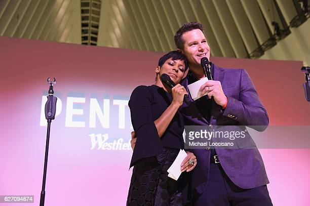 News Anchor Tamron Hall and Thomas Roberts host the Pentatonix performance at Westfield World Trade Center Holiday Lights Launch at The Oculus...