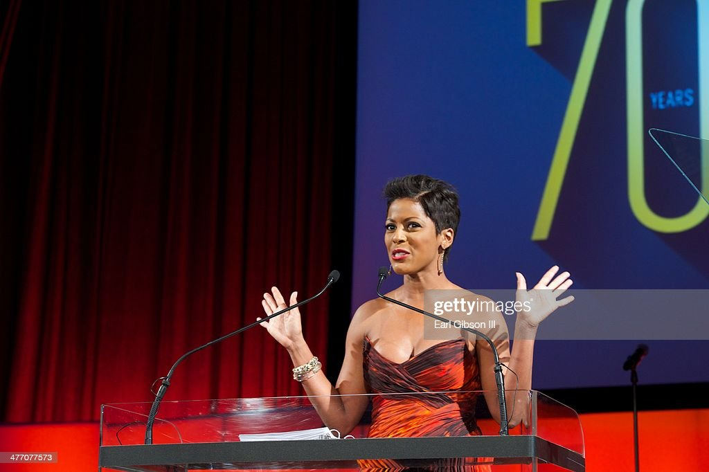 News anchor Tamron Hall serves as Mistress Of Ceremonies at the 'UNCF Lighting The Way To Better Futures' 2014 Dinner at New York Hilton on March 7, 2014 in New York City.
