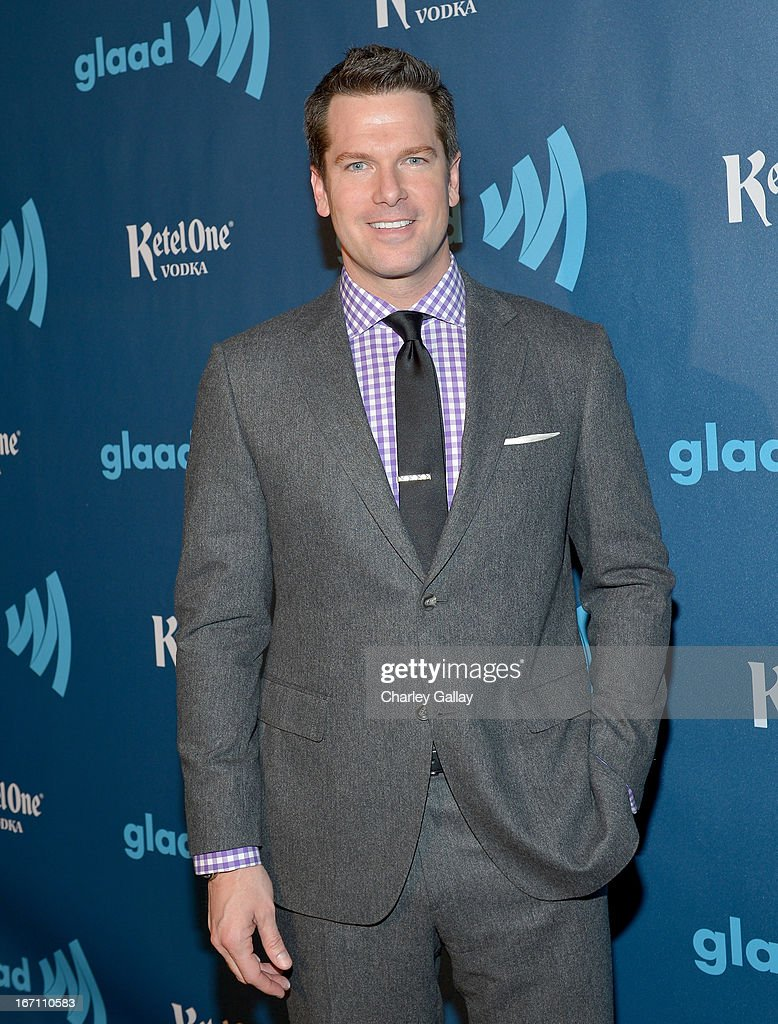 News anchor Thomas Roberts poses in the VIP Red Carpet Suite at the 24th Annual GLAAD Media Awards hosted by Ketel One at JW Marriott Los Angeles at L.A. LIVE on April 20, 2013 in Los Angeles, California.