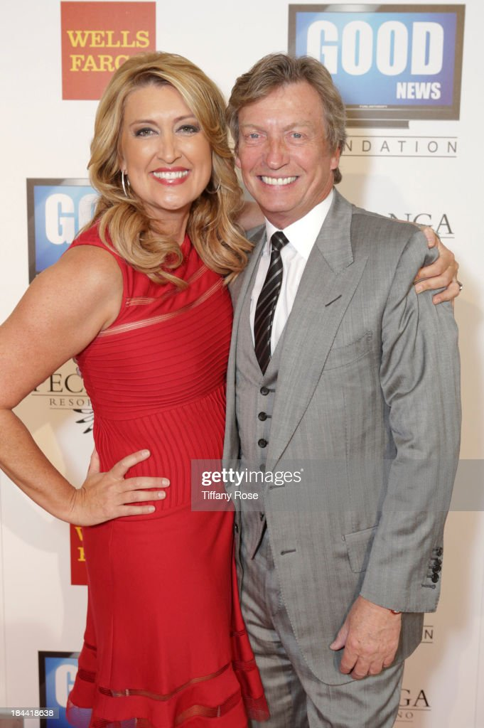 News anchor Wendy Burch (L) and producer <a gi-track='captionPersonalityLinkClicked' href=/galleries/search?phrase=Nigel+Lythgoe&family=editorial&specificpeople=736462 ng-click='$event.stopPropagation()'>Nigel Lythgoe</a> attend the Good News Foundation's Feel Good event of the year honoring Maria Shriver with the Lifetime Achievement Award at The Beverly Hilton Hotel on October 13, 2013 in Beverly Hills, California.