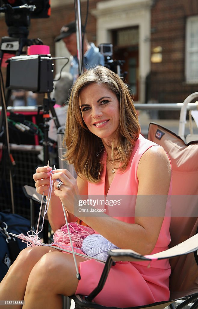 News Anchor with NBC Natalie Morales knits to pass the time outside the Lindo wing of St Mary's Hospital as the UK prepares for the birth of the first child of The Duke and Duchess of Cambridge on July 16, 2013 in London, England.