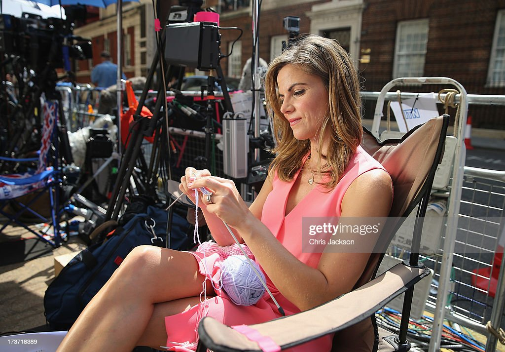 News Anchor with NBC Natalie Morales knits to pass the time outside the Lindo wing of St Mary's Hospital as the UK prepares for the birth of the...