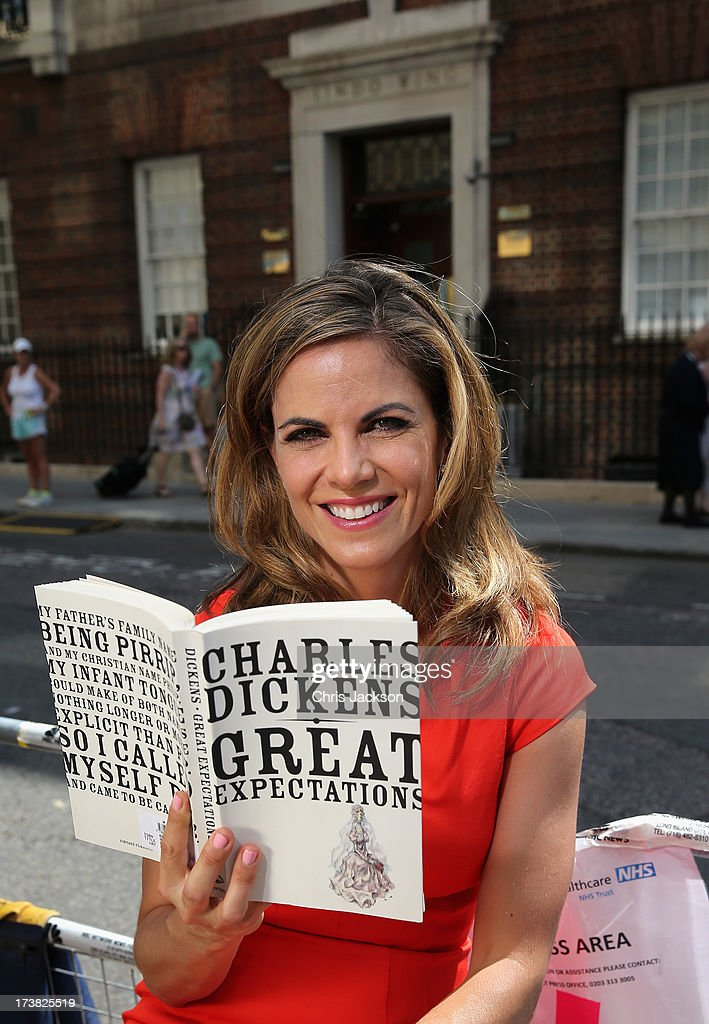 News Anchor with NBC Natalie Morales reads Charles Dicken's 'Great Expectations' outside the Lindo wing of St Mary's Hospital as the UK prepares for...