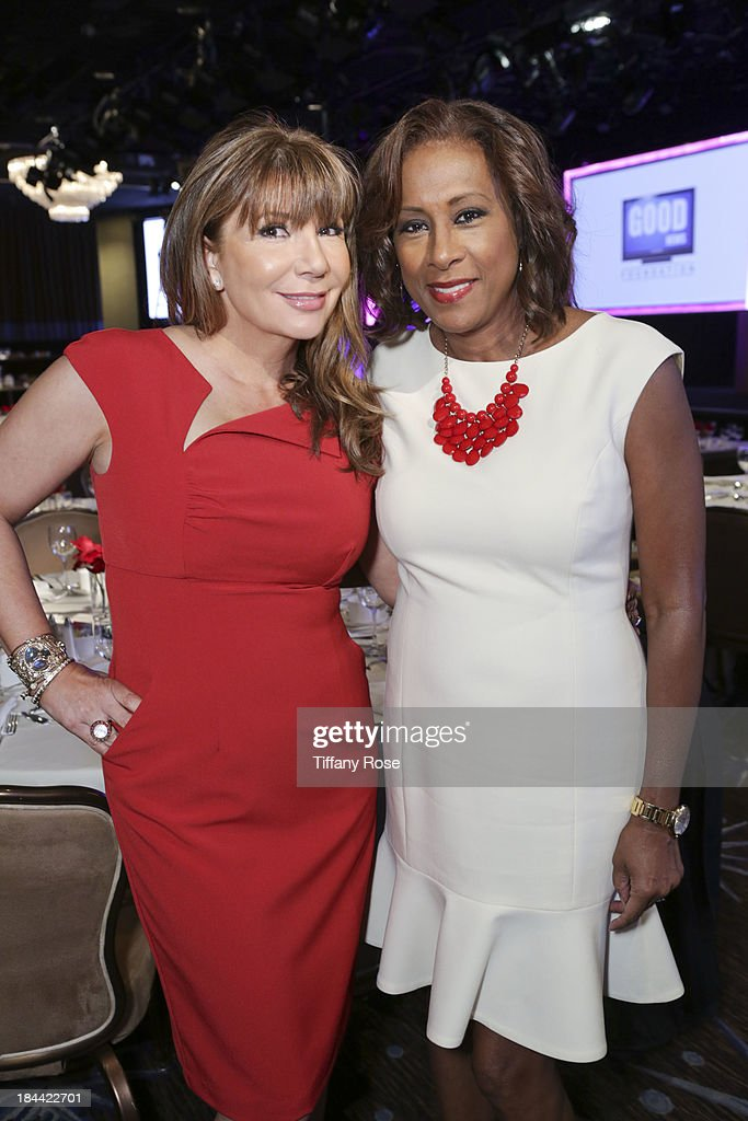News anchors Ana Garcia and Pat Harvey attend the Good News Foundation's Feel Good event of the year honoring Maria Shriver with the Lifetime Achievement Award at The Beverly Hilton Hotel on October 13, 2013 in Beverly Hills, California.