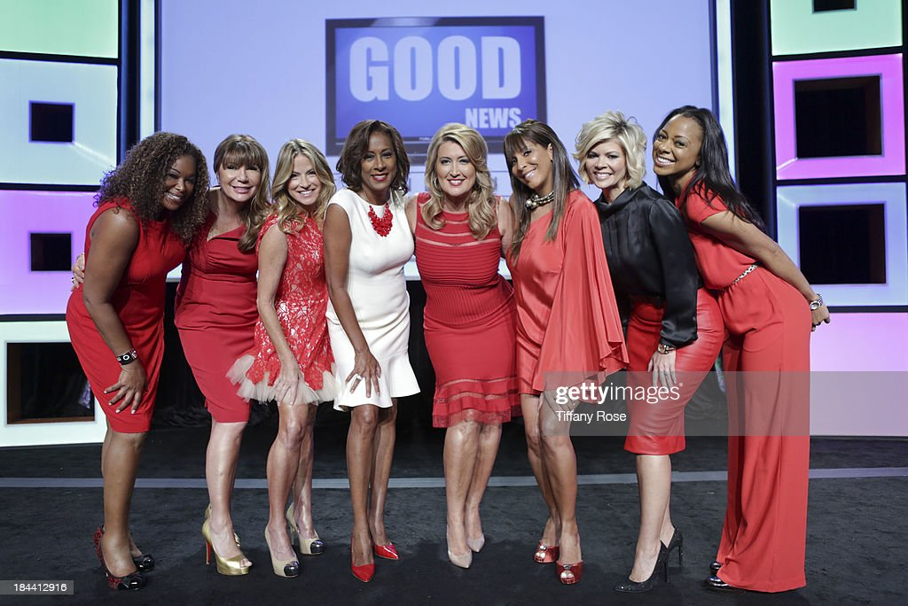 News anchors Deborah Duncan, Ana Garcia, Dorothy Lucey, Pat Harvey, Wendy Burch, <a gi-track='captionPersonalityLinkClicked' href=/galleries/search?phrase=Christine+Devine&family=editorial&specificpeople=2179636 ng-click='$event.stopPropagation()'>Christine Devine</a>, Leslie Miller and Nischelle Turner attend the Good News Foundation's Feel Good event of the year honoring Maria Shriver with the Lifetime Achievement Award at The Beverly Hilton Hotel on October 13, 2013 in Beverly Hills, California.