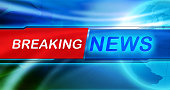 Breaking news tag in the center of banner, the blue shiny background and Globe. Vivid design, red and blue color.