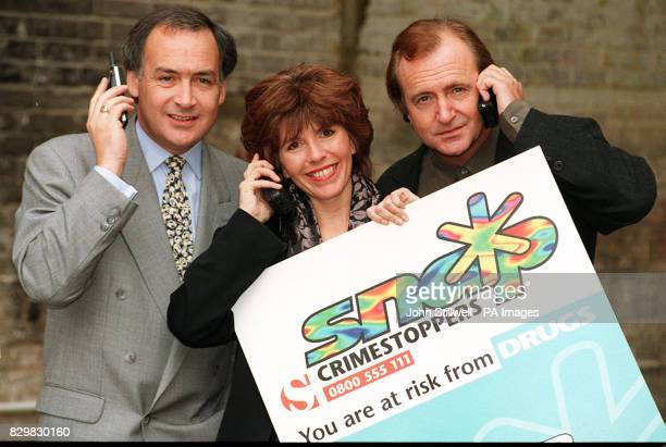 News broadcasters Alastair Stewart and Maggie Philbin with Actor Simon Rouse in London today for the launch of Crimestoppers National Campaign to...