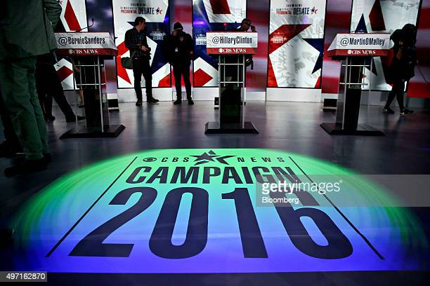News Campaign 2016 logo is projected on stage during a media walk through of the Democratic presidential candidate debate venue at Drake University...