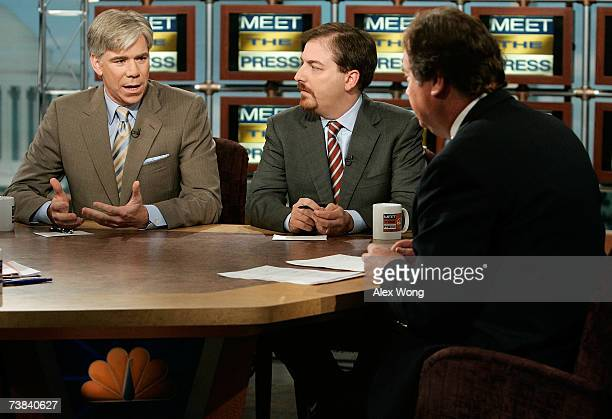 News Chief White House Correspondent David Gregory speaks as NBC News Political Director Chuck Todd and moderator Tim Russert look on during a taping...