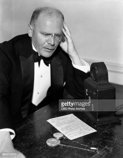 News commentator and analyst HV Kaltenborn at radio microphone Image dated April 1 1934
