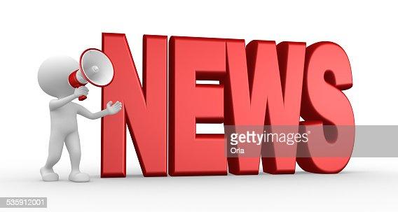 Noticias concepto y un megáfono : Foto de stock