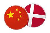 News Concept: China Flag Button On Denmark Flag Button 3d illustration on white background