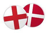 News Concept: England Flag Button On Denmark Flag Button, 3d illustration on white background
