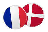 News Concept: France Flag Button On Denmark Flag Button, 3d illustration on white background
