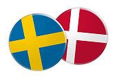 News Concept: Sweden Flag Button On Denmark Flag Button, 3d illustration on white background