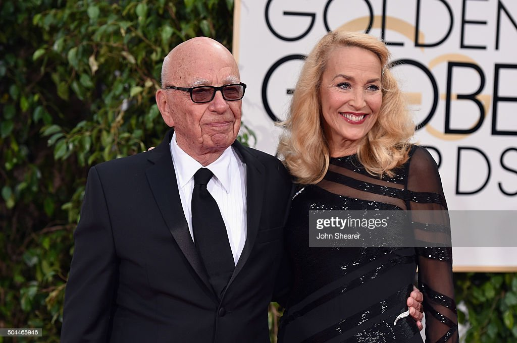 News Corp. CEO Rupert Murdoch (L) and model Jerry Hall attend the 73rd Annual Golden Globe Awards held at the Beverly Hilton Hotel on January 10, 2016 in Beverly Hills, California.