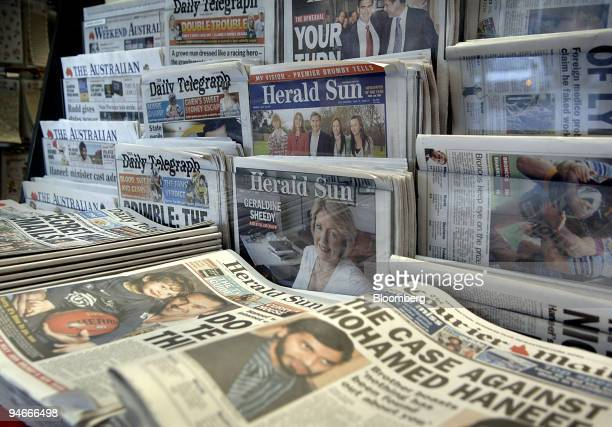 News Corp newspapers are seen in Sydney Australia on Wednesday August 1 2007 Rupert Murdoch's News Corp agreed to buy Dow Jones Co for $56 billion...