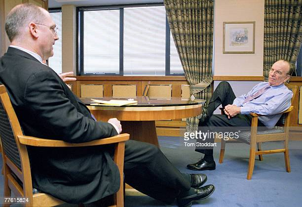 News Corporation Chairman and CEO Rupert Murdoch photographed in his office at News International in Wapping London during his interview with writer...
