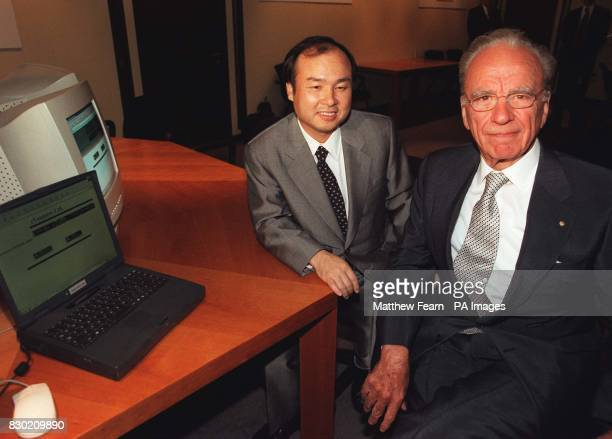 News Corporation Chairman and Chief Executive Rupert Murdoch and Chief Executive Officer of SOFTBANK Masayoshi Son before a press conference in...