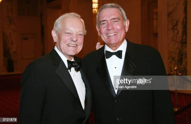 CBS News Correspondent Bob Schieffer and CBS News Anchor Dan Rather attend the International Radio And Television Society Foundation's 2004 Gold...