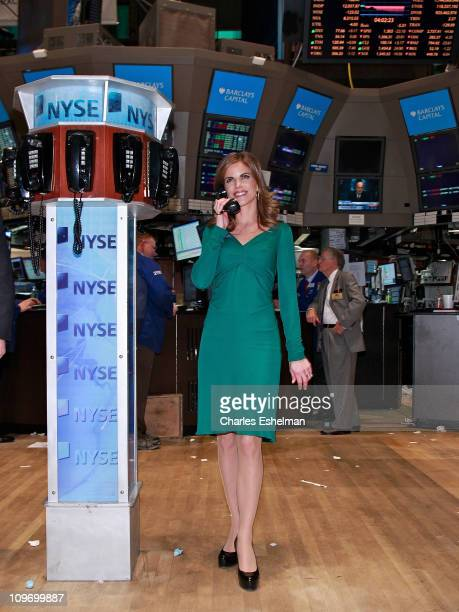 News correspondent Natalie Morales tours the trading floor at the New York Stock Exchange on March 1 2011 in New York City