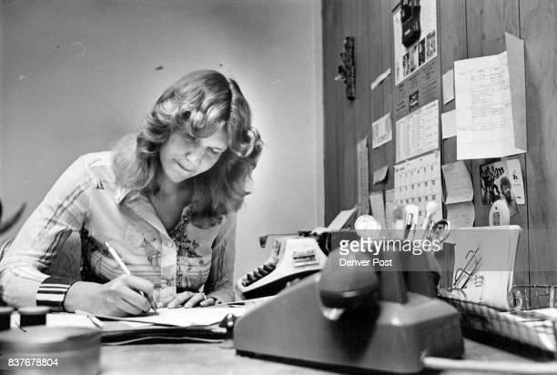 News Editor Pam Norman Uses Heavy Editing Pencil On Copy For Next Edition She is the editor but she has to do all kinds of chores including sorting...