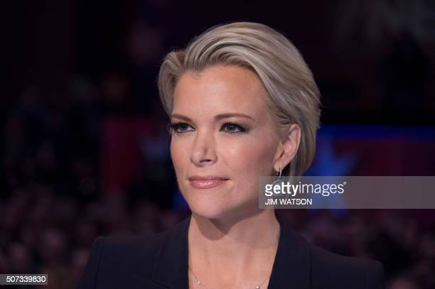 FOX news host Megyn Kelly looks on during the Republican Presidential debate sponsored by Fox News at the Iowa Events Center in Des Moines Iowa on...