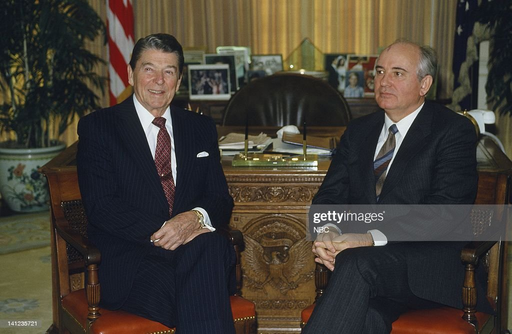 NBC News 'IntermediateRange Nuclear Forces Treaty Signing' Aired 12/8/1987 Pictured US President Ronald Reagan General Secretary of the Soviet Union...