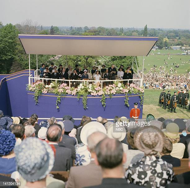 NBC News 'John F Kennedy Memorial Dedication by Queen Elizabeth II' Air Date Pictured HRH Prince Philip Duke of Edinburgh Her Majesty Queen Elizabeth...