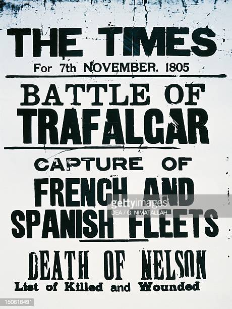 News of the death of Admiral Horatio Nelson at Trafalgar Square The Times November 7 1805 Napoleonic Wars England 19th century