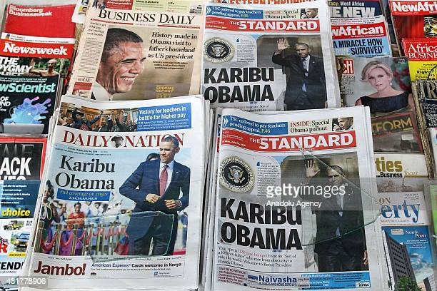 News papers about the Obama visit are displayed in Keynan capital Nairobi on July 24 ahead of the US President Barack Obama's visit Obama to visit...