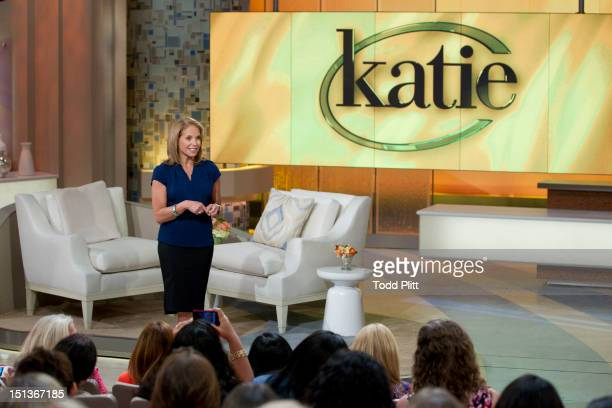 TV news personality Katie Couric is photographed on the set of her new talk show for USA Today on August 16 2012 in New York City PUBLISHED IMAGE