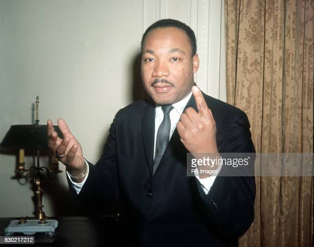 Dr Martin Luther King the American Black leader gestures as he carries on an animated conversation during a oneday visit to London in connection with...