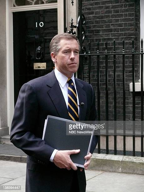 Anchor and Managing Editor 'NBC Nightly News' Brian Williams interviews British Prime Minister Tony Blair at 10 Downing Street London England the...