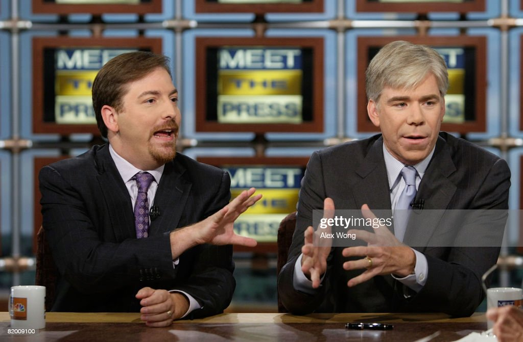 NBC News Political Director Chuck Todd and NBC Chief White House Correspondent David Gregory discuss during a taping of 'Meet the Press' at the NBC...