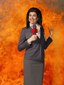 News presenter and fire