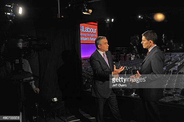 BBC News Presenter Huw Edwards interviews the Labour Party Foreign Secretary David Miliband at Manchester Central during the Labour Party Conference...