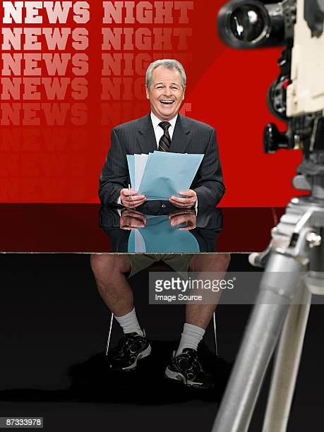 News presenter in shorts