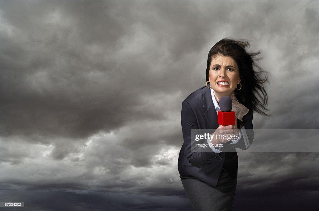 News presenter in storm