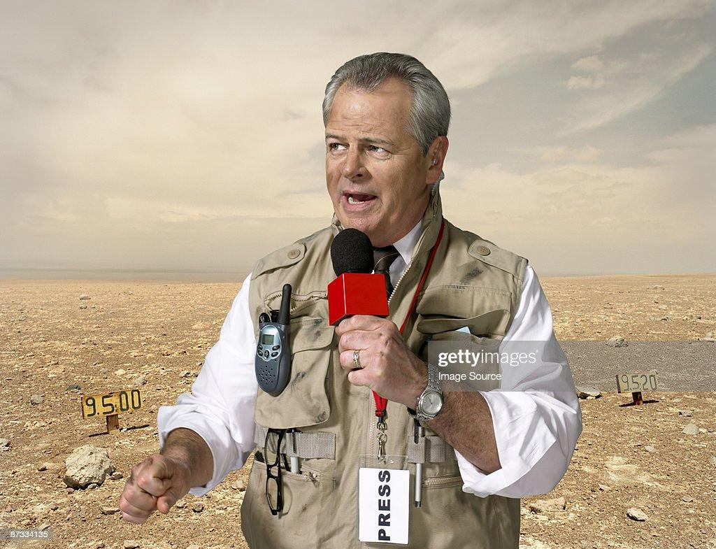 News presenter in war zone