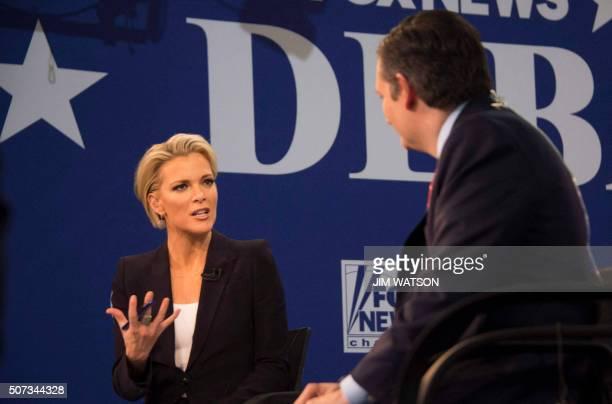 FOX news presenter Megyn Kelly speaks to Texas Senator Ted Cruz after the Republican Presidential debate sponsored by Fox News at the Iowa Events...
