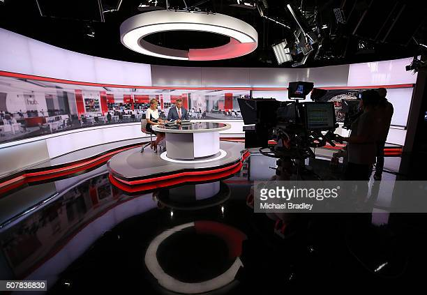 News presenters Hilary Barry and Mike McRoberts during the first episode of MediaWorks new nightly news show Newshub Live at 6pm on February 1 2016...
