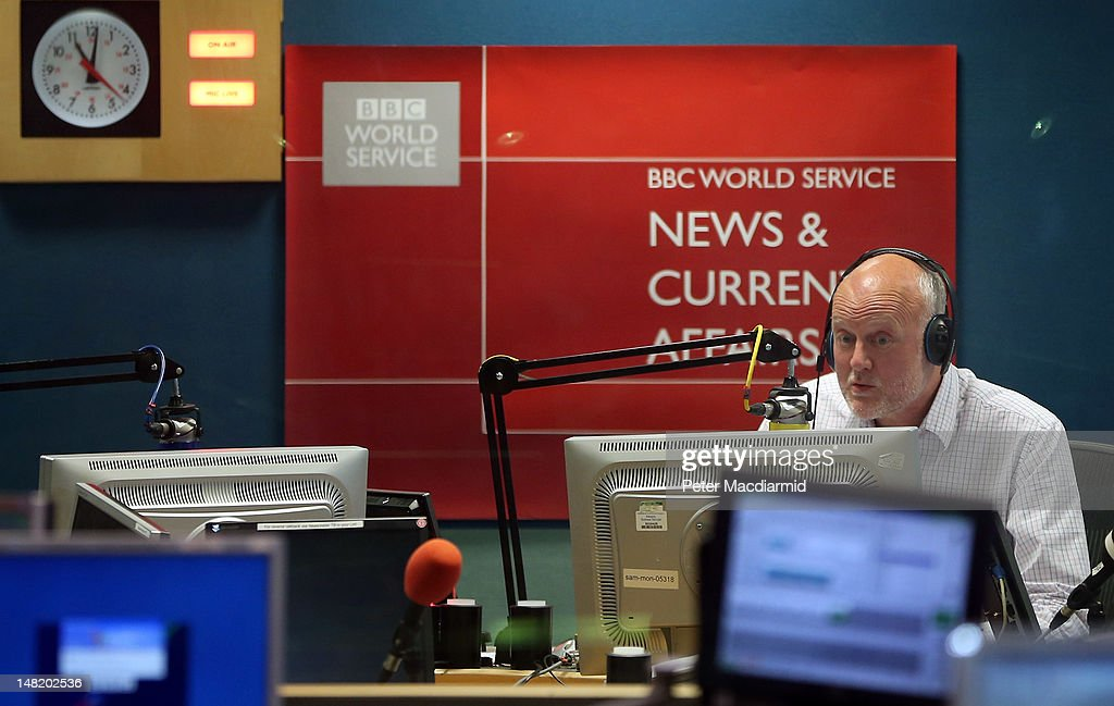 BBC news reader Iain Purdon reads the last ever World Service radio bulletin from Bush House on July 12, 2012 in London, England. Bush House - home to World Service radio for 70 years has now closed. The station has moved to a new building at Broadcasting House one mile away.