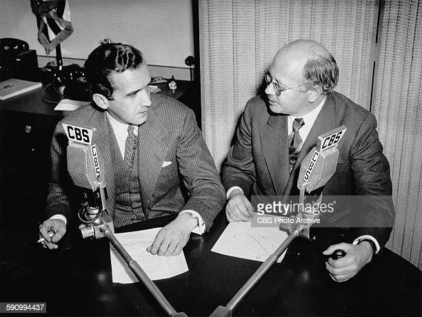 CBS News reporters and war correspondents Edward R Murrow and William Shirer at a CBS studio in New York City 1st April 1942