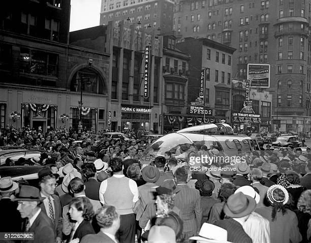 News reports from the 1948 Republican National Convention Philadelphia Pennsylvania June 24 1948 Crowds gather around the weatherproof press box...